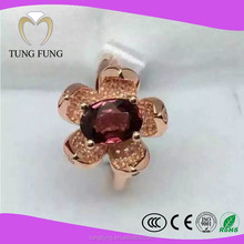 Factory latest design natural garnet gold plated ring