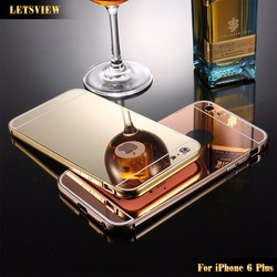 LETSVIEW Ultra Slim Protective Mirror Case For iPhone 6 plus Luxury Aluminum Acrylic Back Cover For iPhone 6 Plus 5.5''