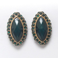 Crystal and facet oval stone button earring -pierce