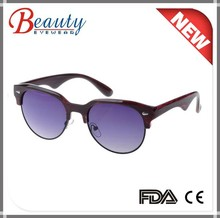 Round frame plastic sunglasses ac lens