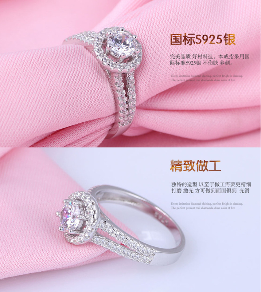 Hot Products Good Quality Love Crystal Wedding 925 Silver Rings ...