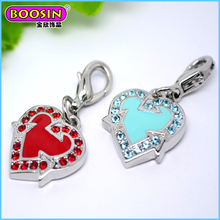 High quality wholesale shiny heart floating love charm for best friends