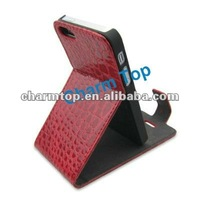 Crocodile Leather Stand Flip Case For iPhone 5 5G