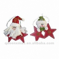 Christmas ornaments santa snowman with wooden star