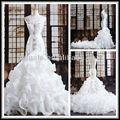 ( mj10205) 2013 de lujo cinta de organza blanca sexy única sirena vestido de novia