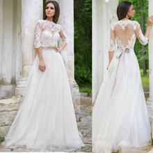 2015 una línea de Forma Encaje Corazón media manga de espalda abierta Vestido de boda romántico vestido de novia
