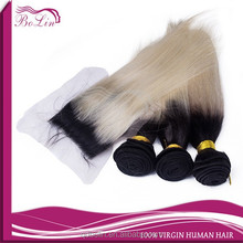 Soft Hair Extension Machine Weft 1b 613 ombre hair extension lace closure straight