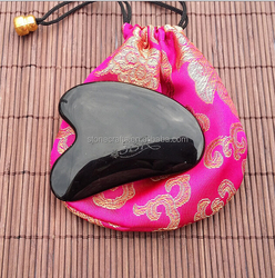 Chinese obsiddian jade stone gua sha board gua sha massager with gift bag jade crafts