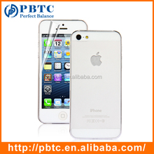 Set Screen Protector And Case For Iphone 5 , White Hard Plastic Transparent Phone Case