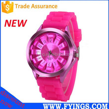 silicone 3atm japan movt quartz fashion lady watch, stainless steel back