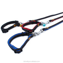 pet denim series leash collar blue red black with bell