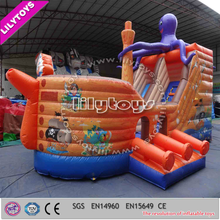 2015 atrrative style octopus giant inflatable pirate ship slide for children
