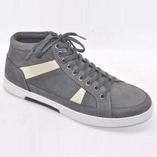 grey color nubuck upper ankle cut lace up platform sole sneaker styles new style mens casual shoes