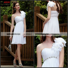 One Shoulder Knee Length Ruffle Crystal Chiffon White Cocktail Dress