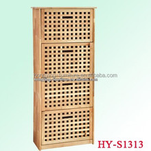 Simple design 4 tier solid wood shoe cabinet, natural wooden shoes cabinet