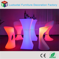 led table/battery operated RGBW color change square high top led cocktail table