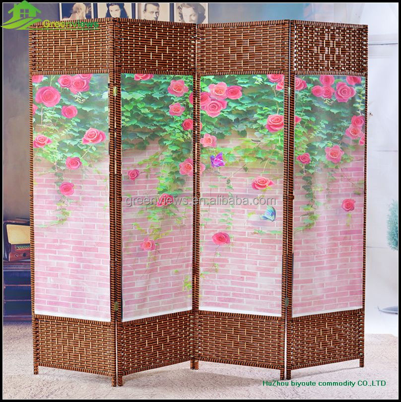 Canvas printing wood folding partition screen hanging folding screen sliding doors interior room - Hanging sliding room divider ...