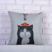 Hot Sale Cool Cat Pattern Cushion Pillow Case Custom Linen Covers For Living Room Decorative