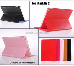 2016 Wholesale 5 Colors Genuine Leather Tablet Case For iPad Air 2