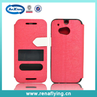 Shining color tpu pu leather case for HTC M7