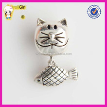 Hot Sale Sterling Silver 925 Cat Love Fish Charm Beads Large Hole Beads