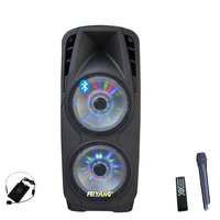 2X12 inch PA portable active dj wireless pro audio speaker with disco light