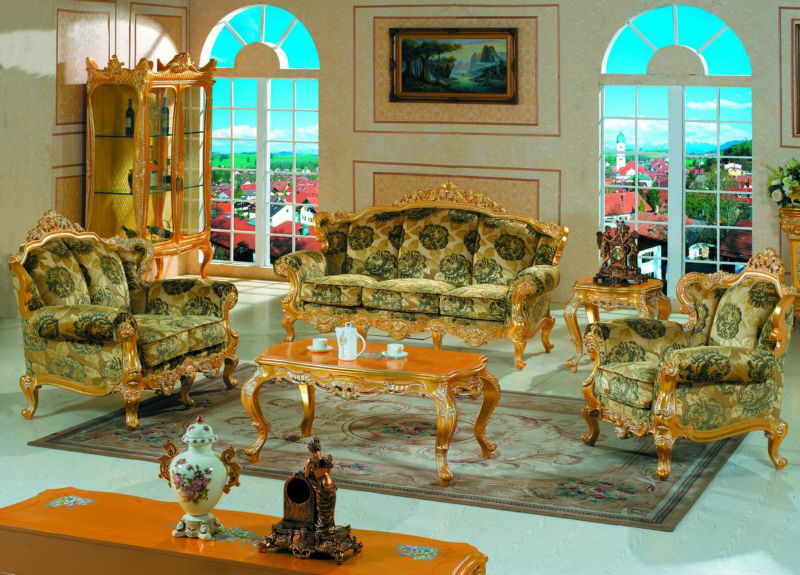 Italian Classic Furniture Finished In Solid Wood Frame With Gold Leaf Gilding Living Room
