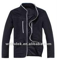 Fashionable mens melton woo black jacket with stand up collar jacket`