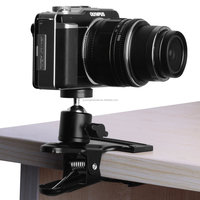 """Rotating Camera Mount Spring Clamp with Ball Head Clamp Clip Holder Mount standard 1/4"""" Screw Mini Camera Head Mount"""