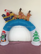 High quality inflatable christmas santa with reindeer ,inflatable santa arch