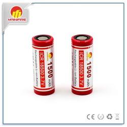 18500 3.7v cylinder lithium ion battery 1500mah / 3.7v icr 18500 1500mah li-ion battery