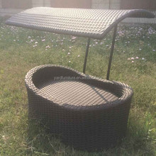 SGS UV resistant PE rattan Pet bed with canopy