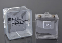 Screen printing custom order promotional transparent PVC cosmetic bag