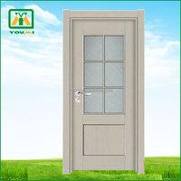 YM-P002 wooden glass design door engineered half glass door