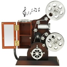 New Design Vintage Design Classical Projector Shape Beautiful Fine Jewelry Music Box with Mirror