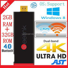 Quad core Windows8.1 MINI PC Smart TV BOX Intel Z3735F 2GB/32GB Flash Pocket P2 computer TV Stick