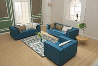 Modern Japanese Style Latest Home Sofa Set Wood Frame Sofa Living Room Blue Velvet Sofa Furniture