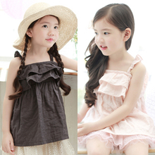 summer new cotton strap braces shirt child girls halters shirt, children clothing sun top for kids sun-shirt child tshirt