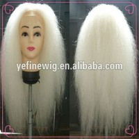 Unprocessed Virgin Human Hair 34 Inch Long White Front Wigs