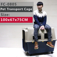 X-large Pet Folding Dog Cat Crate Cage Kennel with Crate Tray & Wheels