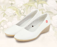 2013 New Arrival Womens Shoes White Genuine LEATHER Wedge Pumps Heels Loafers Slides Soft