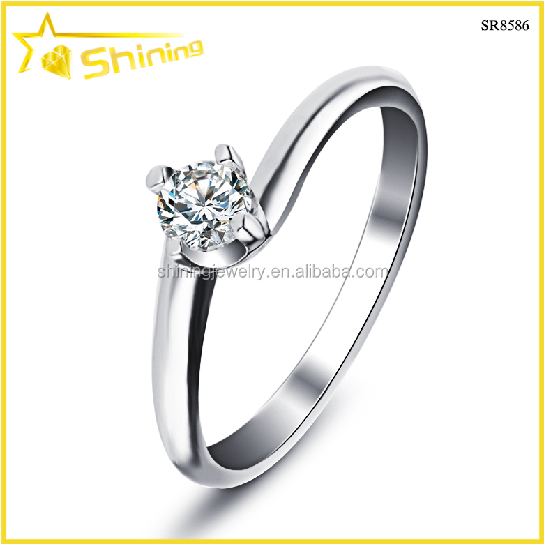 Sr8586 Wholesale Silver Jewelry Simple Wedding Ring With Zircon Rhodium Plate