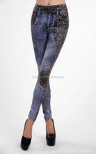 New Sexy Long Blue Rose TATTOO JEGGINGS S M L Pants Leggings Stretchy Jean Denim
