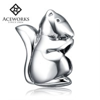 Wholesale Animal 925 Sterling Silver Bracelet Beads Squirrel