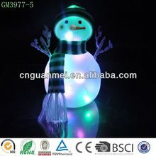 Popular led glass christmas snowman with scarf and hat for christmas decoration