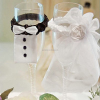 Novelty Mini Wedding Dress Wine Glass Decor Mariage Decorations Bride Groom Tux Bridal Veil Wedding Party Favors And Gifts