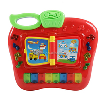 Apple piano toy for preschool Press and learn with apple shape, music, light, sounds of 8 kinds of trasportations and animals an
