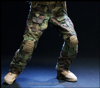 custom abrasive military woodland camouflage tactical pants with knee pad