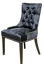 Black fabric dining chair with silver nail head /dining chairs with armrests