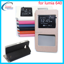 view window leather case cover for Nokia Lumia 640,For Nokia 640 flip leather case
